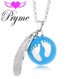 Wholesale Pryme Cute Foot Ball DIY Wing Jewelry Lucky mm Engelsrufer Eco friendly Copper Chime Cage Sound Bell Pendant Angel Bola Necklaces L082
