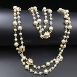 2016 Fashion Women Golden Chain Elegant beaded pearl Design long sweater chain necklaces strands strings Christmas gift