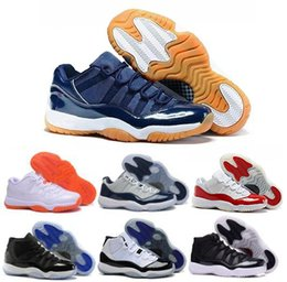 Promotion or rouge 2016 air retro 11 XI bas Navy Gum Bleu Blanc Varsity Rouge Metallic Gold Bred Georgetown Space-Jam Chaussures de basket-ball femme homme XI Sneakers