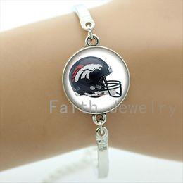 Wholesale Trendy american football sport helmet art picture bracelet case for Denver Broncos team jewelry fashion rugby bracelets NF154