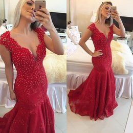 New Arabic Style Mermaid Prom Dresses Dark Red V-neck See Through Button Back Lace Pearls Cap Sleeves Reception Evening Gowns