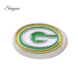 Wholesale Enamel Alloy Oval Shape Team Symbol Letter G Charm DIY Floating Locket Charm Pendant for Living Memory Glass Locket as Gift