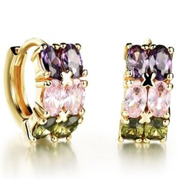 NEW Double Layer Cubic Zirconia Woman Stud Earrings Fashion 18K Gold Platinum Plated Cross Design Women Jewelry Gift