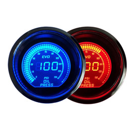 Wholesale Hot quot mm Oil Pressure Gauge V Blue Red LED Light Tint Lens LCD Screen Car Digital Meter Black Universal