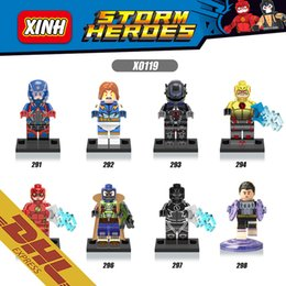 Wholesale 250pcs Mix Order Marvel DC Super Heroes Minifigures Reverse The Kid Flash Black Lightning Atom Bane X0119 Minifigure Building Blocks Toy