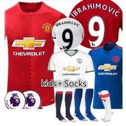 Wholesale Best selling MancHESTER Jerseys Kids Socks Home Away unITED Red IBRAHIMOVIC POGBA Rooney Soccer Jerseys football shirts wh