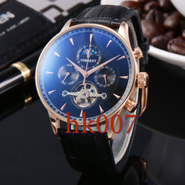 1581 Corgeut 44mm Rose Gold Case Black Dial Moon Phase Date Day Men's Stainless Steel Case Automatic Watch