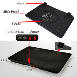 Wholesale Professional external Laptop Cooler Pad quot quot quot with fans USB Port slide proof stand Notebook Cooling Fan with light