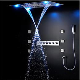 estilo europeo de lujo moderno juego de ducha grandes sus funciones bao llev la luz de techo de ducha mezclador termosttico de la cascada de lluvia