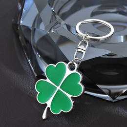 Stainless High Quality Green Leaf Keychain Fashion Creative Beautiful Four Leaf Clover Steel Lucky Key Chain Jewelry Keyring