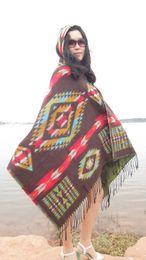 Wholesale Crochet Sweaters Wholesale - Wholesale-New Fashion Fringe Ethnic Geometric Women's Batwing Cape Poncho Knit Top Cardigan Sweater Coat Hip Scarf Shawl TM00772