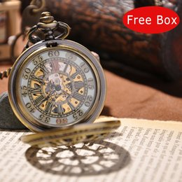Wholesale Gold Engraved Mechanical Pocket Watch Stainless Steel Dial Watch Mens Skeleton Antique Watch with Glass Surface PW03