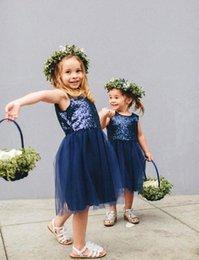Wholesale 2016 Designer Navy Blue Flower Girl Dresses Kids Wear Elegant Baby Girls Party Dresses for Kids Little Girls Tutu Dresses Online