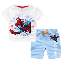 2016 new baby clothes Spider man kids clothes baby boy clothes Boys sets t-shirt + shorts boys clothing wholesale pre-school children sports
