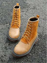 Wholesale Short Rainboots Women - 2016 autumn winter shoes Martin boots thick with brush color short boots British round head with women's boots