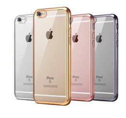 Wholesale electroplating plating case soft tpu ultra thin transparent clear for iphone s plus fitted dirt resistant freeshipping new arrival