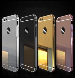 Pour le cas de l'iphone 7 Hybride 2 en 1 Cadre en aluminium de miroir de cadre de pare-chocs de cas avec la couverture claire arrière de plaque pour l'iphone 5 5s se 6 6S Plus 7 7 plus à partir de pare-chocs 5s transparent fabricateur
