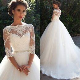 New Princess Wedding Dresses Ivory Ball Gown DREAM DRESS WEDDING Sheer Bateau Neckline Bridal Gowns Illusion Sleeves Beaded Sash