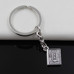 Wholesale Fashion diameter mm Key Ring Metal Key Chain Keychain Jewelry Antique Silver Plated book holy bible mm Pendant