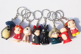 Wholesale 120pcs set Spirited away Hayao Miyazaki Anime Totoro keychain Ponyo figure KiKis Delivery Service PVC Model Toys