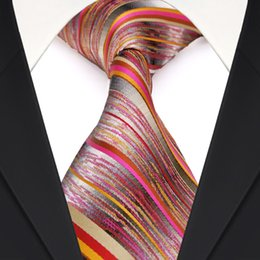 Brand New F20 Multicolor Red Gray Grey Stripes Mens Ties Neckties 100% Silk Jacquard Woven Wholesale Free Shipping