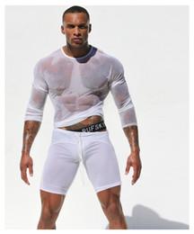 Wholesale-High Quality Men Long Sleeve Sexy Transparent Shirt Mesh Gauze T-shirt Sexy underwear Pajamas Gay Sexy Sleepwear Free Shipping