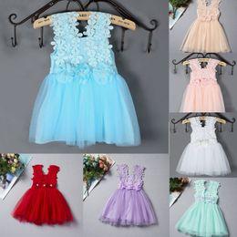 2016 summer new Girls princess dress summer children lace Crochet tulle tutu dress beaded flower kids vest party dress