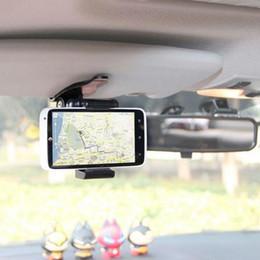 Descuento soportes de cámaras digitales Universal Car Sun Visor Teléfono Soporte Soporte Para Samsung Para iPhone Teléfono Móvil GPS PDA MP4 Cámara Digital DVR 360 Rotación