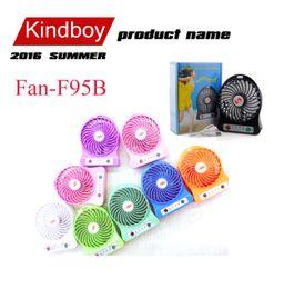 Wholesale 2016 Mini fan Protable Fan Multifunctional USB Rechargerable Kids Table Fan Battery Adjustable Speed F95B Multi Color free DHL