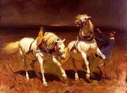 Wholesale rudolf koller schimmelpaar bei herannahendem gewitter frightened horse Hand Painted Art Oil Painting Canvas customized size accepted ele