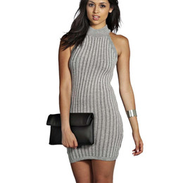 2016042909 New Arrival 2016 Summer Style Women Fashion Sexy Bodycon Club Party Dresses Turtleneck Casual Elegant Office Mini Knitting Dress