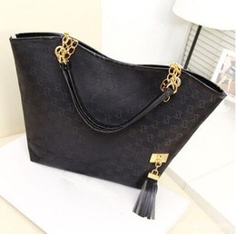 Wholesale 2015 women handbag women shoulder bag chains canvas designer tassel brand women messenger bag black fashion women tote