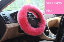 Wholesale 100 real Sheepskin steering wheel cover winter car plate set Pink wool cover for women fur car cover