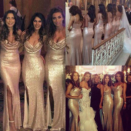 Sexy Gold Sequins Bridesmaid Dresses 2019 Front Split Spaghetti Straps Mermaid Wedding Formal Dress Sweep Train