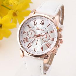 NUEVO vestido ocasional de la mejor calidad de Ginebra Platinum mujeres del reloj de la PU del cuero del reloj de las señoras Reloj reloj de oro regalo de la manera romana desde los mejores relojes de moda de calidad fabricantes