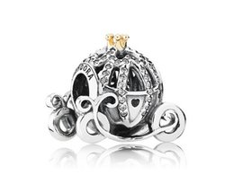 Wholesale Authentic Sterling Silver European Cinderella Pumpkin Carriage Charm14K Gold Crown Original Fits pandora Charm Bracelet J911