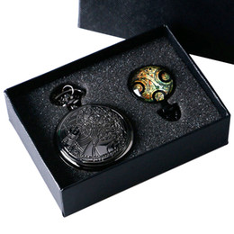 Wholesale Uk movie Doctor Who Pocket Watch men quartz fashion Necklace Dr Who Seal pendant With Luxury Gift Box Set