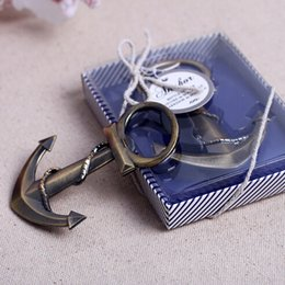 Wholesale wedding giveaways coppery Anchor Shaped Chrome Bottle Opener In Gift Box bridal favors wine opener