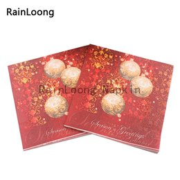 Wholesale RainLoong Beverage Paper Napkin Christmas Ball Festive Printed Serviettes Tissues Decoupage Table Decoration x33cm