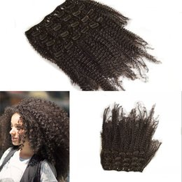 Wholesale Peruvian Human Hair High Quality Afro Kinky Curly African American Clip In Human Hair Extension for Black Women