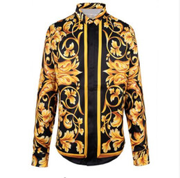 Wholesale HOT Spring Autumn winter Harajuku Medusa gold chain Dog Rose print shirts Fashion Retro floral sweater Men long sleeve tops shirts