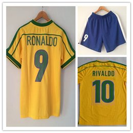 A+++Top Thai quality!Retro jersey Brazil 1998 World cup Brasil Ronaldo  Rivaldo   R. Carlos Jerseys shirt