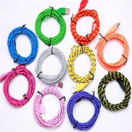Wholesale 1M M M Nylon Braided Micro USB Cable Charger Data Sync USB Cable Cord For Android Cell phones Colors Available