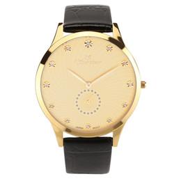 QSurvivor brand fashion luxury lather strap watches men Japan quartz movt men's sports watches gold case women waterproof fashion casual