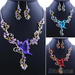 Bride's Butterfly Flower Rhinestone Pendant Bib Statement Necklace Earrings Jewelry Set 08OO