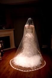 2016 New Top Quality Best Sale Chapel short White Ivory Lace Edge veil Bridal Head Pieces For Wedding Dresses