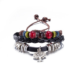 Hot Sale Three layers European and American Fashion Beads Bracelet Retro Punk Bracelet with Tree of Life Shape Wholesale