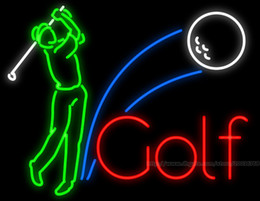 """Golfer Swinging Neon Sign Custom Golf Course Advertisement Sport Games Display Real Glass Tube Neon Signs 37""""X20"""""""