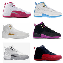 Wholesale 2016 high quality air retro XII university Blue GS barons Dynamic Pink ovo white French Blue Hyper Violet Woman Basketball Shoes Sneaker