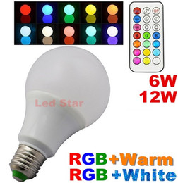 RGB RGBW LED Bulbs Light 6W 12W Colorful E27 E26 B22 LED Globe Lights Lamps + Remote Contorller